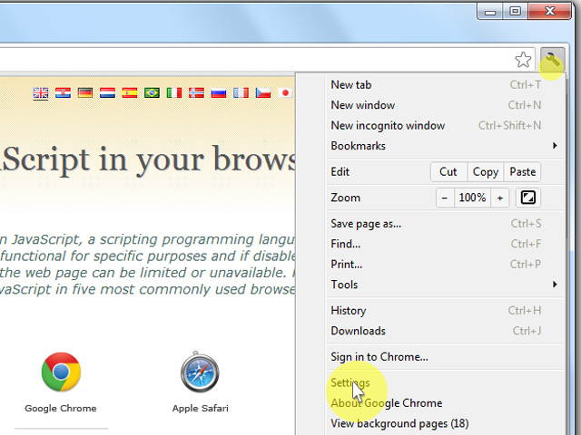 "On the web browser menu click on the ""Customize and control Google Chrome"" and select ""Settings""."